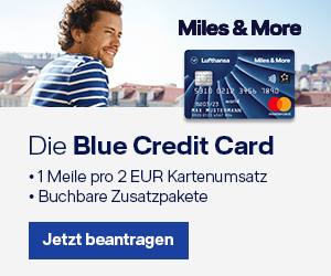 Miles & More Credit Card Blue von Lufthansa. 50 Euro Flugschein inklusive. Vielfliegerprogramm.